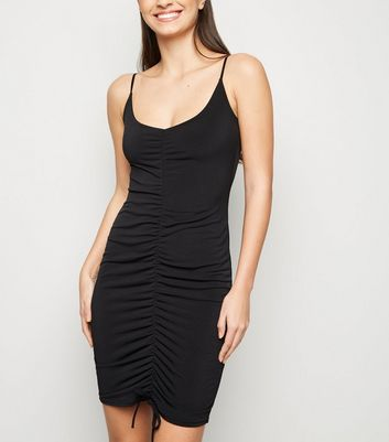 Cameo Rose Black Ruched Front Bodycon Dress