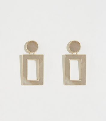 Grey Shell Rectangle Earrings