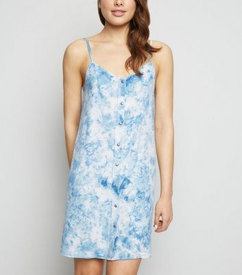 Blue Tie Dye Button Up Slip Dress