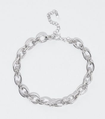 Silver Double Link Chunky Chain Necklace