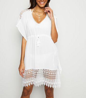 White Crochet Panel V Neck Kaftan