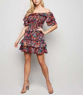 Parisian Multicoloured Floral Frill Trim Bardot Dress