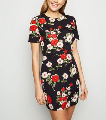 Parisian Black Floral Mini Bodycon Dress