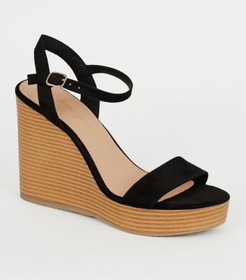 Black Suedette 2 Part Wood Wedges