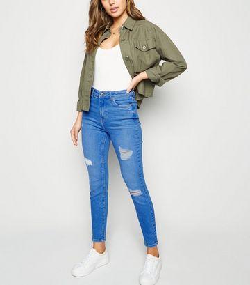 Bright Blue Ripped Super Skinny Hallie Jeans