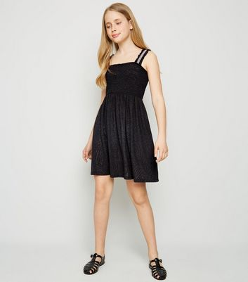 Girls Black Shirred Burnout Dress