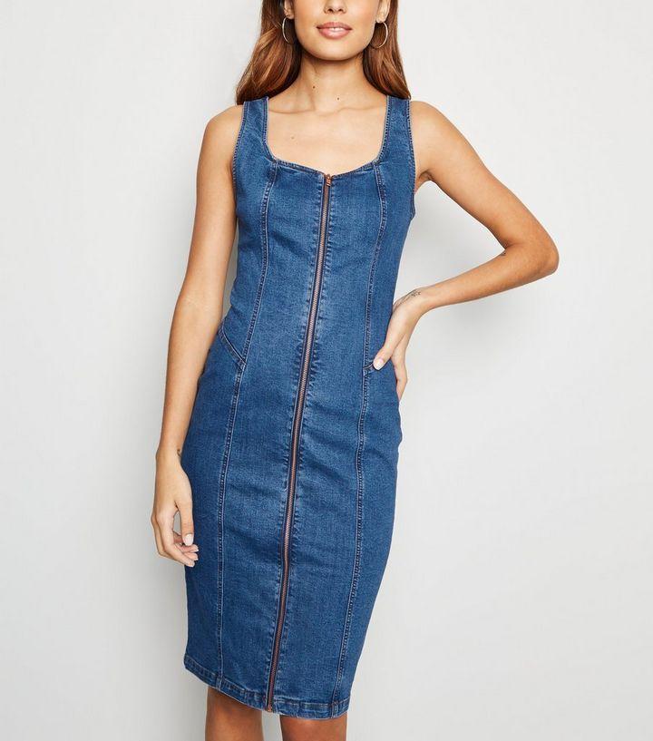 b4ea321cfc3d Blue Zip Front Denim Bodycon Midi Dress | New Look