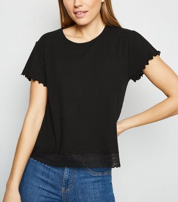 Black Fine Knit Lace Trim Boxy T-Shirt