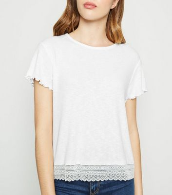 White Fine Knit Lace Trim Boxy T-Shirt