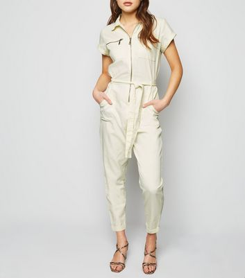 Off White Zip Up Tie Waist Boiler Suit