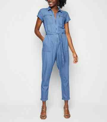 Blue Tie Waist Denim Boiler Suit