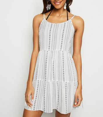White Geometric Stripe Swing Beach Dress
