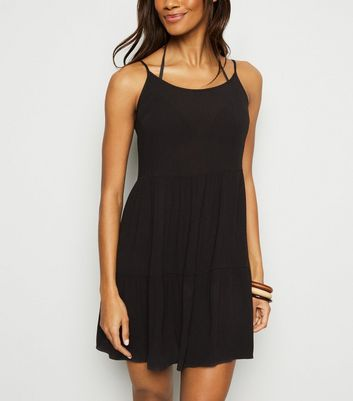 Black Cheesecloth Swing Beach Dress