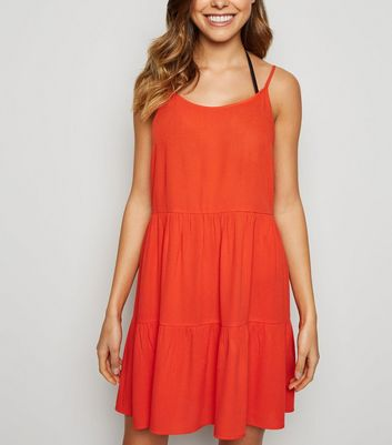 Red Cheesecloth Swing Beach Dress