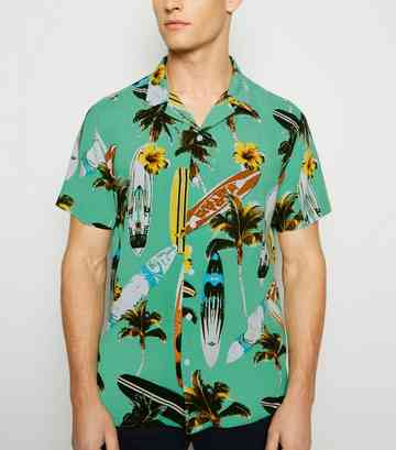 Green Tropical Revere Collar Shirt