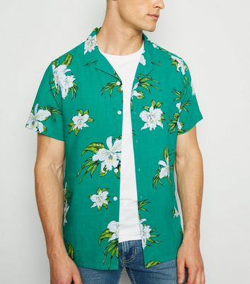 Teal Floral Short Sleeve Shirt