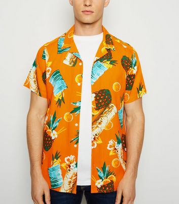 Orange Cocktail Print Short Sleeve Shirt