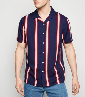 Navy Vertical Stripe Revere Collar Shirt