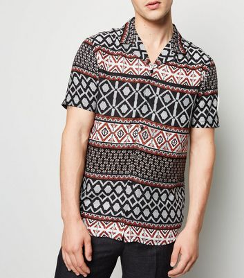 Black Abstract Print Revere Collar Shirt