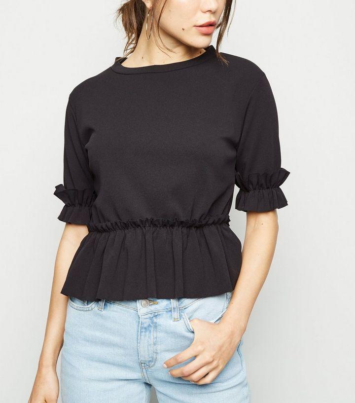 f28ccf06 Cameo Rose Black Short Sleeve Frill Trim T-Shirt | New Look