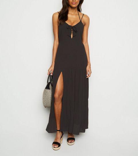 b248432096bb ... Black Tie Front Beach Maxi Dress ...