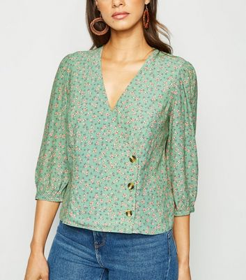 Green Ditsy Floral Wrap Top