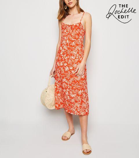 c6dbe223f28 ... Red Tropical Midi Slip Dress ...