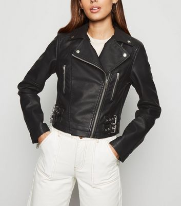 Black Leather-Look Cropped Biker Jacket