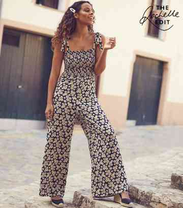 Black Daisy Print Shirred Jumpsuit
