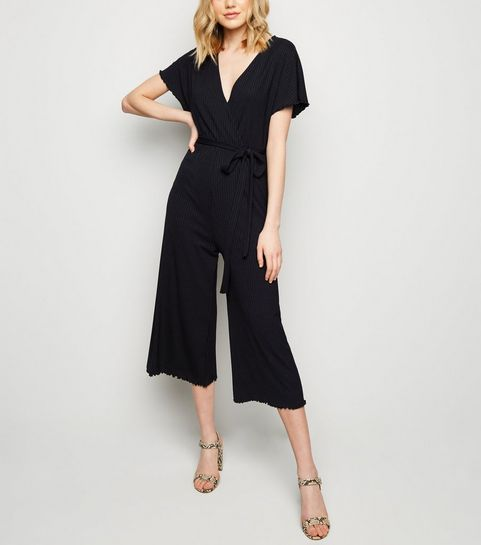 4210658c71 ... Black Frill Trim Wrap Front Jumpsuit ...