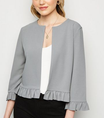 Pale Grey Frill Trim Jacket