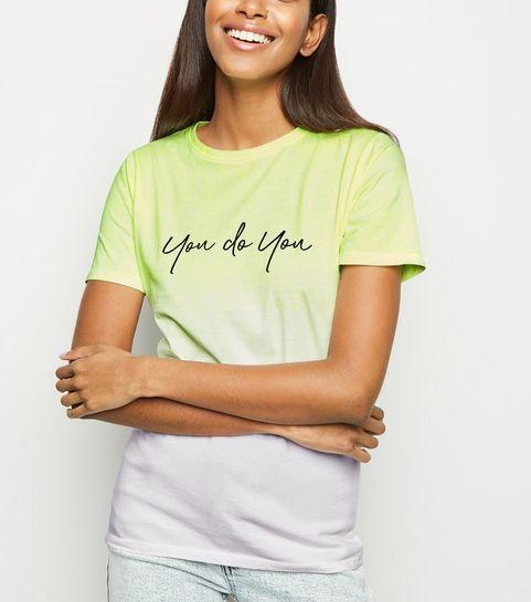 da81f372bab2c0 ... Yellow Dip Dye You Do You Slogan T-Shirt ...