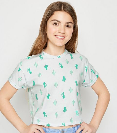850ebb88d7966d ... Girls White Cactus Print T-Shirt ...