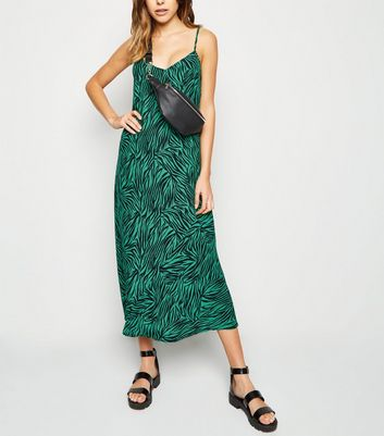 Green Zebra Print Bias Cut Midi Slip Dress