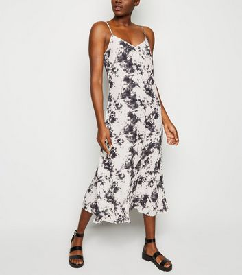 Black Tie Dye Bias Cut Midi Slip Dress