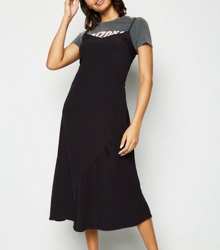 d340947515b ... Black Bias Cut Slip Midi Dress. ×. ×. ×. Shop the look