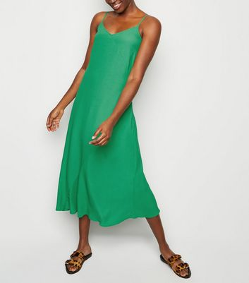 Green Bias Cut Slip Midi Dress