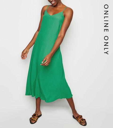 e69deff66d ... Green Bias Cut Slip Midi Dress ...