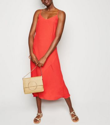 Red Bias Cut Slip Midi Dress