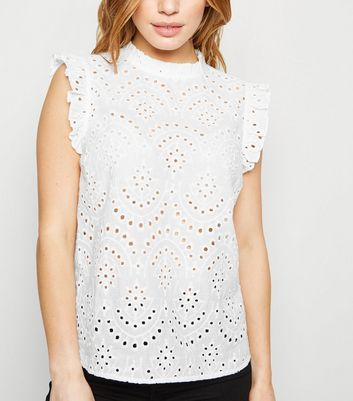 Petite White Broderie Frill Sleeveless Top