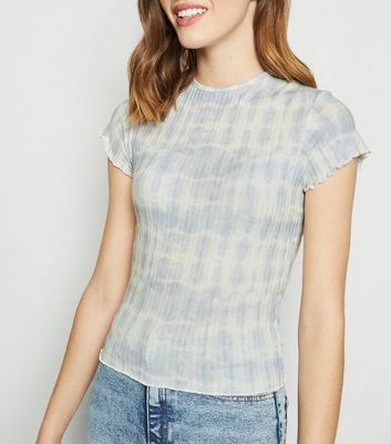 Blue Tie Dye Ribbed Frill Trim T-Shirt