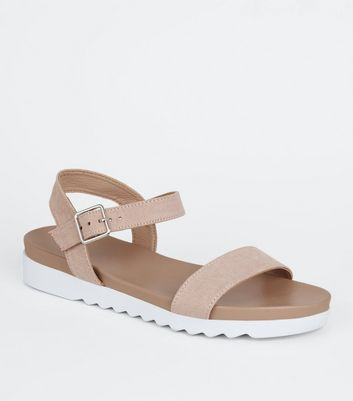 Girls Pink Suedette Sport Sole Sandals