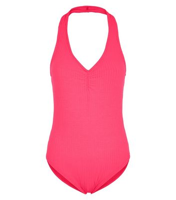 Bright Pink Ribbed Halterneck Ruched Bodysuit New Look
