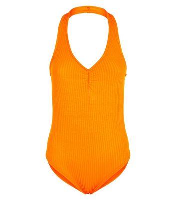 Bright Orange Ribbed Halterneck Ruched Bodysuit New Look