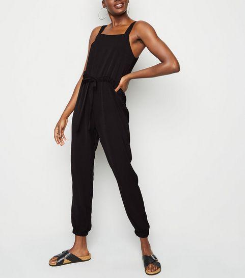 cf9a3f1c7db Black Herringbone Strappy Drawstring Jumpsuit · Black Herringbone Strappy  Drawstring Jumpsuit ...