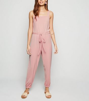 Pale Pink Herringbone Strappy Drawstring Jumpsuit