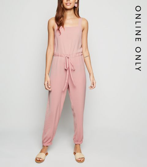 f07cec96f ... Pale Pink Herringbone Strappy Drawstring Jumpsuit ...