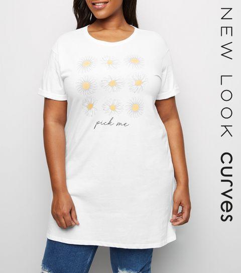 fdce9d1226b ... Curves White Daisy Pick Me Slogan T-Shirt ...