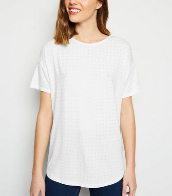 White Diamanté Stud Front T-Shirt