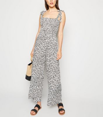 White Leopard Print Tie Strap Shirred Jumpsuit